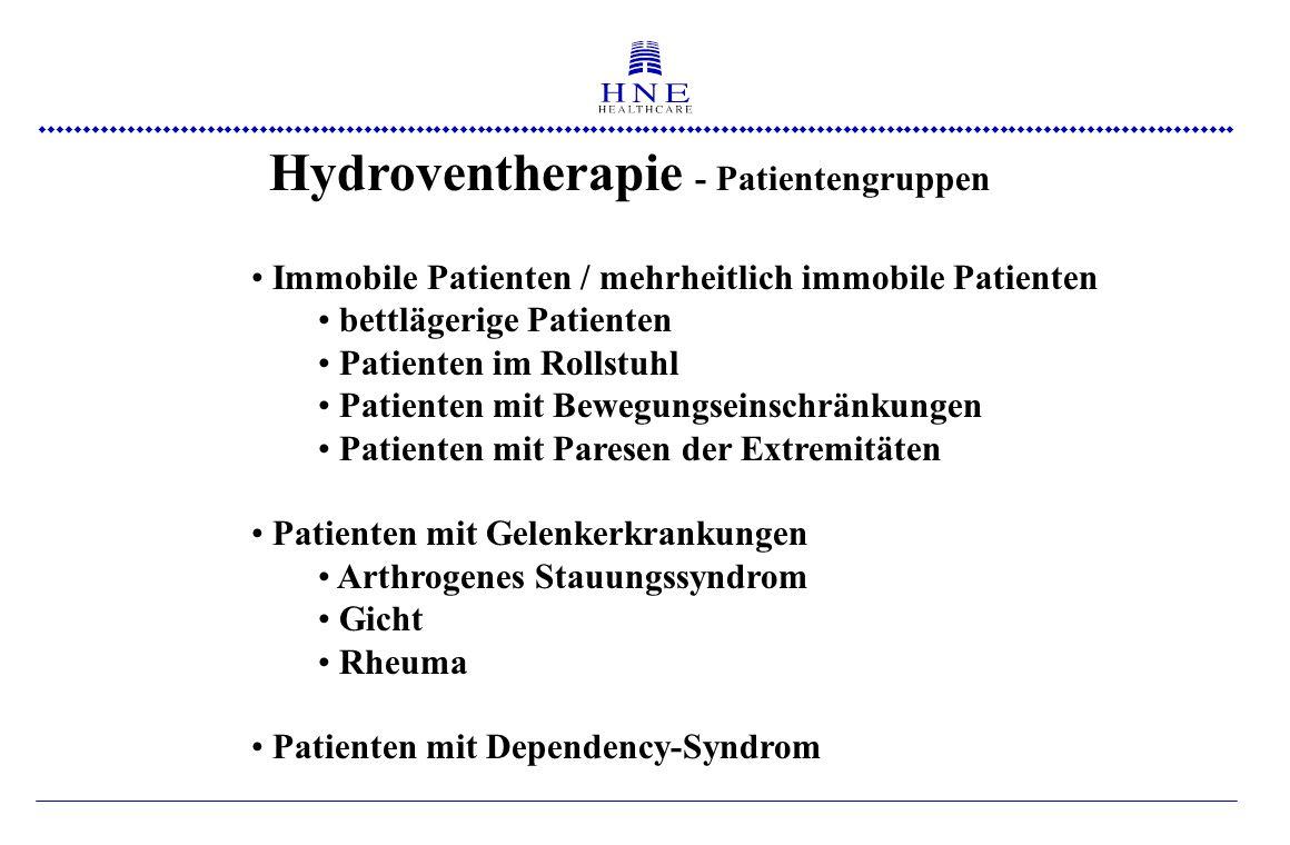  Hydroventherapie - Patientengruppen Immobile Patienten / mehrheitlich immobile Patienten bettlägerige Patienten Patienten im Rollstuhl Patienten mit Bewegungseinschränkungen Patienten mit Paresen der Extremitäten Patienten mit Gelenkerkrankungen Arthrogenes Stauungssyndrom Gicht Rheuma Patienten mit Dependency-Syndrom