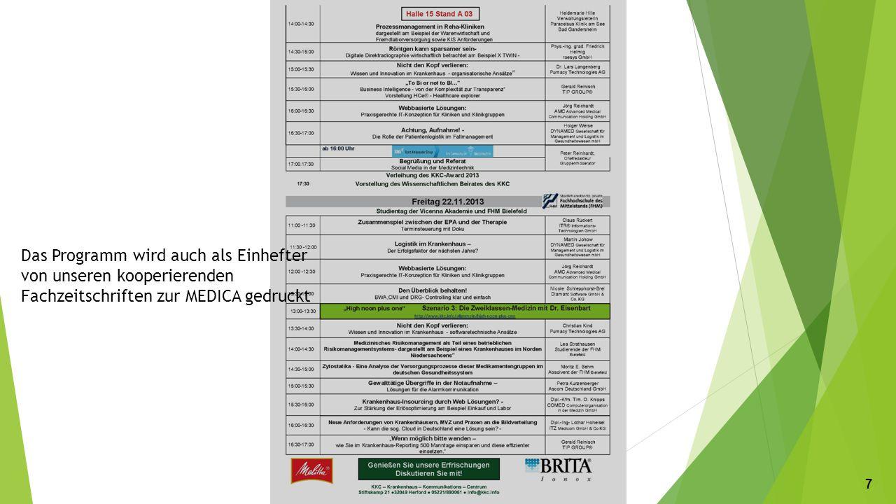Das Programm wird auch als Einhefter von unseren kooperierenden Fachzeitschriften zur MEDICA gedruckt 777777
