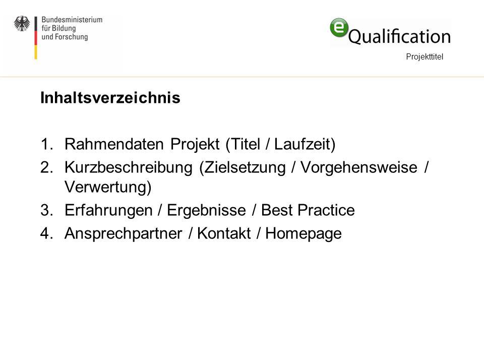 Inhaltsverzeichnis 1.Rahmendaten Projekt (Titel / Laufzeit) 2.Kurzbeschreibung (Zielsetzung / Vorgehensweise / Verwertung) 3.Erfahrungen / Ergebnisse