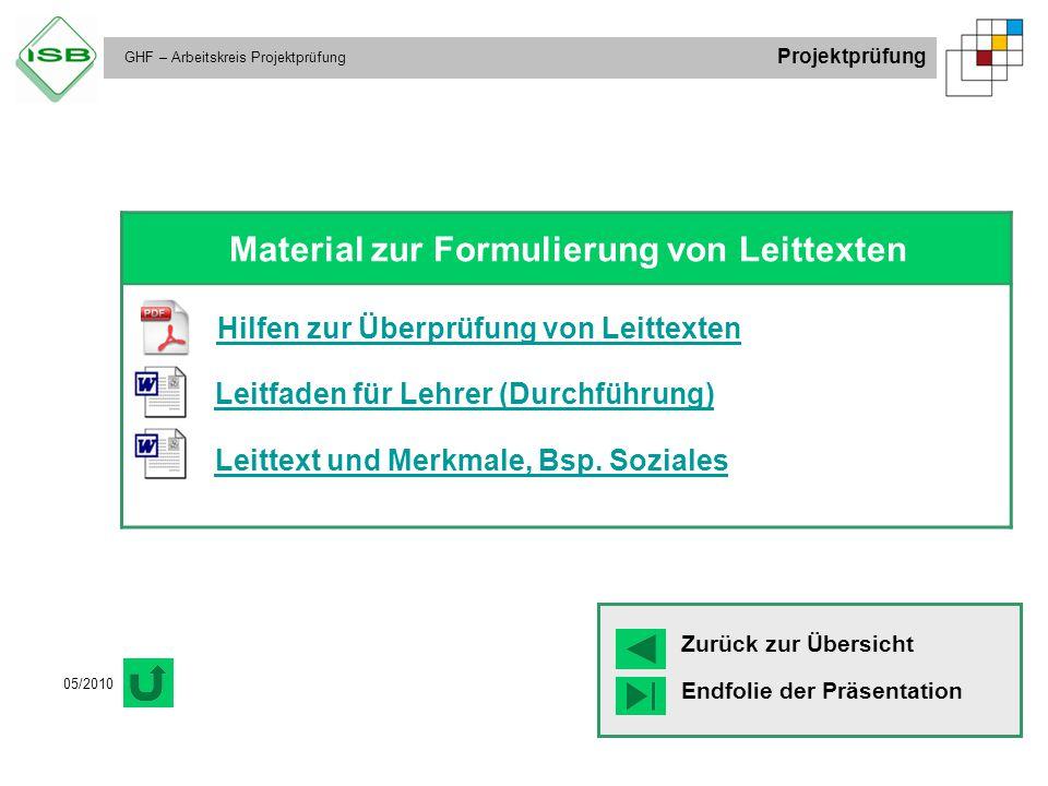 GHF – Arbeitskreis Projektprüfung Projektprüfung 05/2010 Material zur Formulierung von Leittexten Hilfen zur Überprüfung von Leittexten Leitfaden für