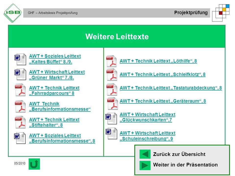 "GHF – Arbeitskreis Projektprüfung Projektprüfung 05/2010 Weitere Leittexte AWT + Soziales Leittext ""Kaltes Büffet"" 8./9. AWT + Wirtschaft Leittext ""Gr"