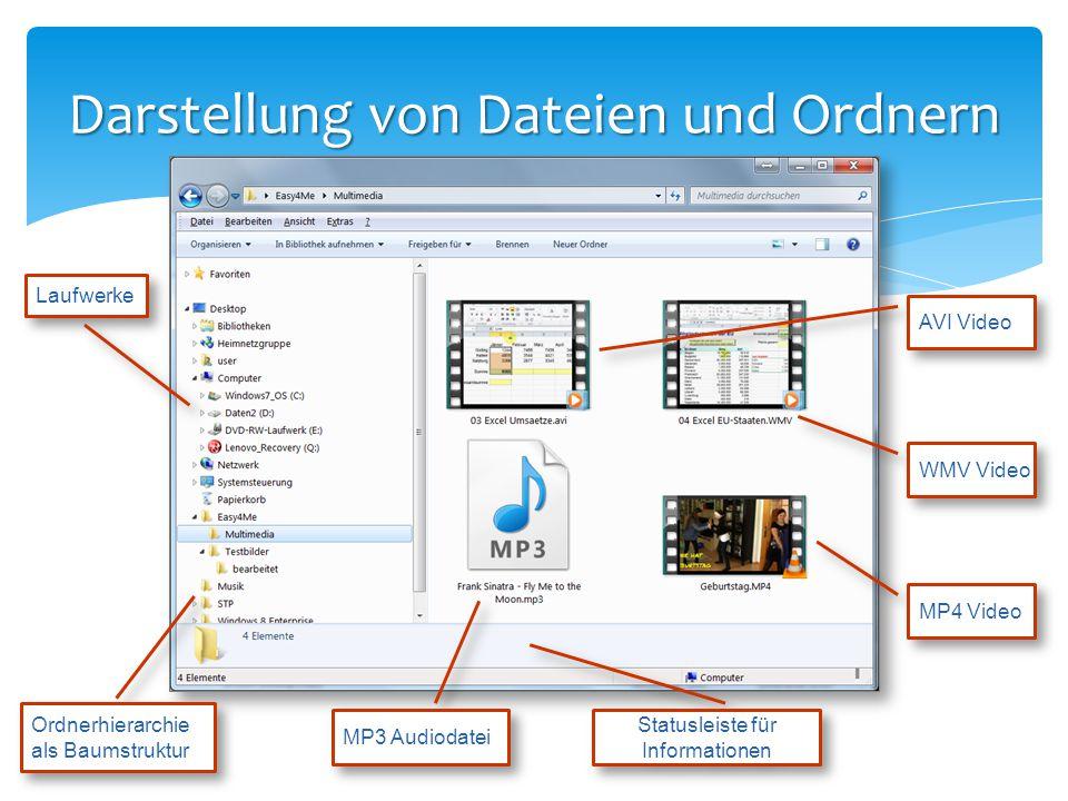 Darstellung von Dateien und Ordnern AVI Video WMV Video Ordnerhierarchie als Baumstruktur MP3 Audiodatei Statusleiste für Informationen MP4 Video Lauf