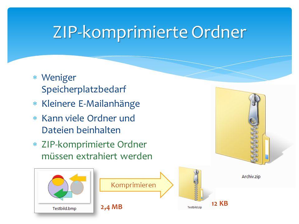  Weniger Speicherplatzbedarf  Kleinere E-Mailanhänge  Kann viele Ordner und Dateien beinhalten  ZIP-komprimierte Ordner müssen extrahiert werden Z