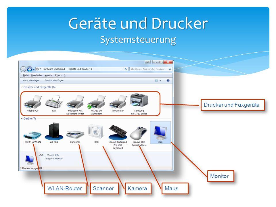 Geräte und Drucker Systemsteuerung Drucker und Faxgeräte WLAN-Router Scanner Kamera Monitor Maus