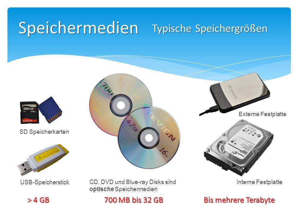 Speichermedien USB-Speicherstick SD Speicherkarten CD, DVD und Blue-ray Disks sind optische Speichermedien Typische Speichergrößen > 4 GB 700 MB bis 3