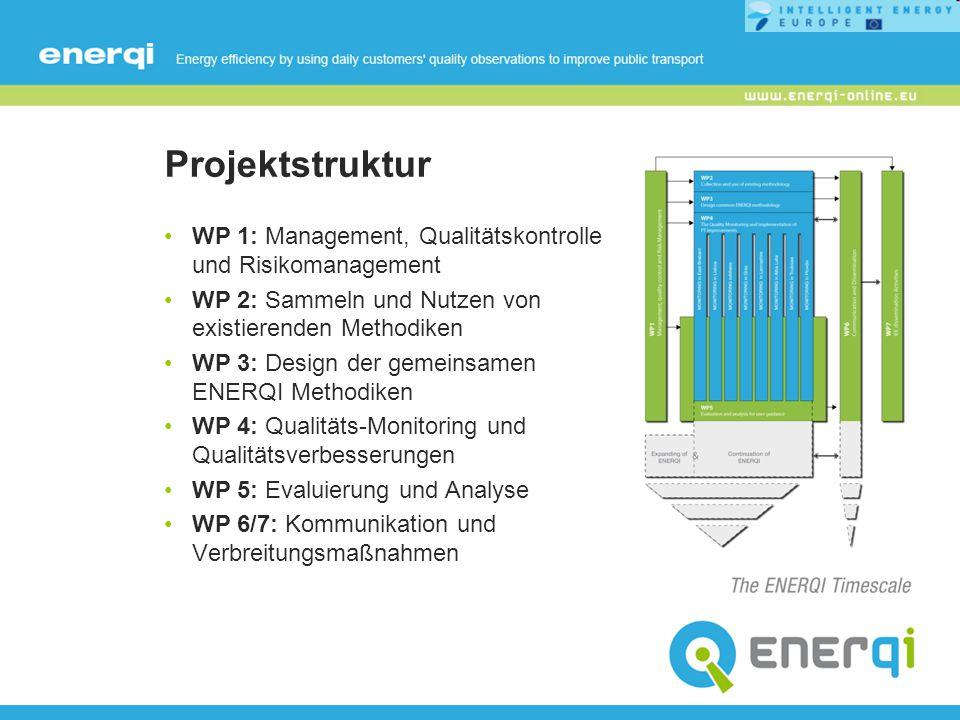 Projektstruktur WP 1: Management, Qualitätskontrolle und Risikomanagement WP 2: Sammeln und Nutzen von existierenden Methodiken WP 3: Design der gemei