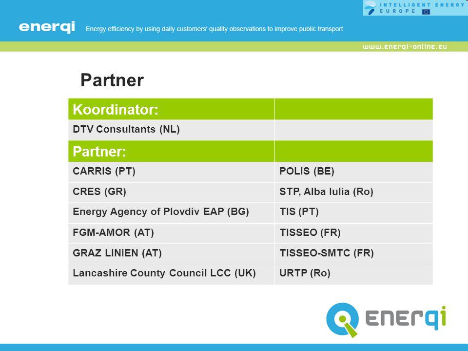 Partner Koordinator: DTV Consultants (NL) Partner: CARRIS (PT)POLIS (BE) CRES (GR)STP, Alba Iulia (Ro) Energy Agency of Plovdiv EAP (BG)TIS (PT) FGM-A