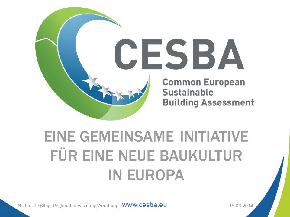 www.cesba.eu EINE GEMEINSAME INITIATIVE FÜR EINE NEUE BAUKULTUR IN EUROPA 18.06.2014Nadine Kießling, Regionalentwicklung Vorarlberg