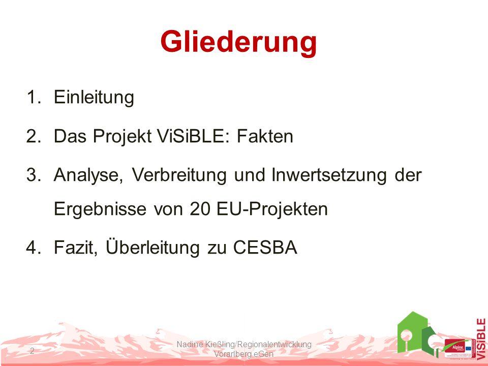 Gliederung 1.Einleitung 2.Das Projekt ViSiBLE: Fakten 3.Analyse, Verbreitung und Inwertsetzung der Ergebnisse von 20 EU-Projekten 4.Fazit, Überleitung zu CESBA Nadine Kießling/Regionalentwicklung Vorarlberg eGen 2