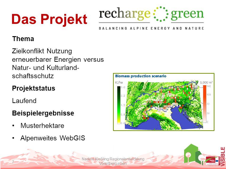 Das Projekt Thema Zielkonflikt Nutzung erneuerbarer Energien versus Natur- und Kulturland- schaftsschutz Projektstatus Laufend Beispielergebnisse Musterhektare Alpenweites WebGIS Nadine Kießling/Regionalentwicklung Vorarlberg eGen 7