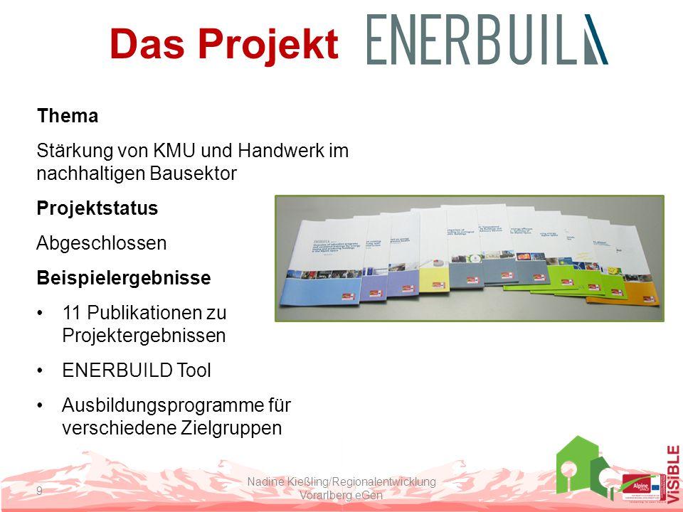 Das Projekt Thema Stärkung von KMU und Handwerk im nachhaltigen Bausektor Projektstatus Abgeschlossen Beispielergebnisse 11 Publikationen zu Projektergebnissen ENERBUILD Tool Ausbildungsprogramme für verschiedene Zielgruppen Nadine Kießling/Regionalentwicklung Vorarlberg eGen 9