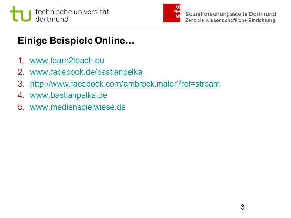 Sozialforschungsstelle Dortmund Zentrale wissenschaftliche Einrichtung 3 Einige Beispiele Online… 1.www.learn2teach.euwww.learn2teach.eu 2.www.faceboo