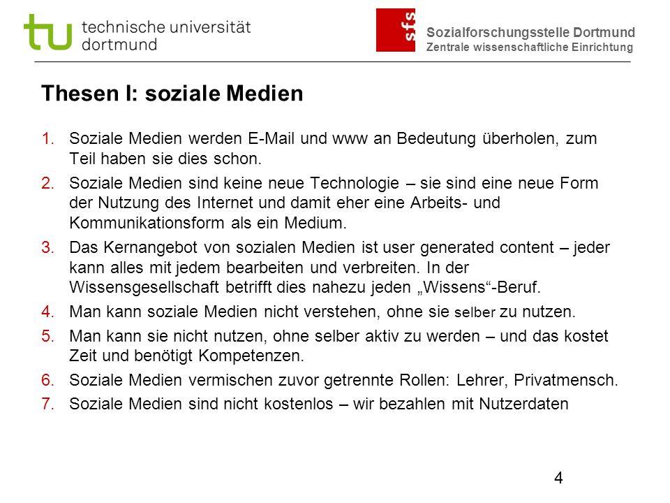 Sozialforschungsstelle Dortmund Zentrale wissenschaftliche Einrichtung 4 Thesen I: soziale Medien 1.Soziale Medien werden E-Mail und www an Bedeutung