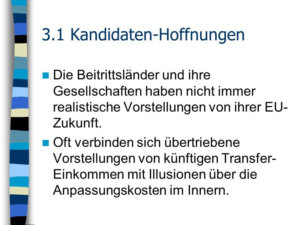 3.1 Kandidaten-Hoffnungen Die Beitrittsländer und ihre Gesellschaften haben nicht immer realistische Vorstellungen von ihrer EU- Zukunft.