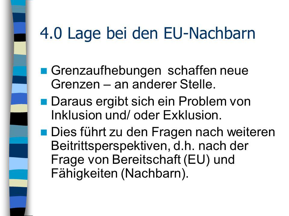 4.0 Lage bei den EU-Nachbarn Grenzaufhebungen schaffen neue Grenzen – an anderer Stelle.