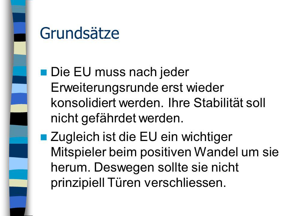 Grundsätze Die EU muss nach jeder Erweiterungsrunde erst wieder konsolidiert werden.