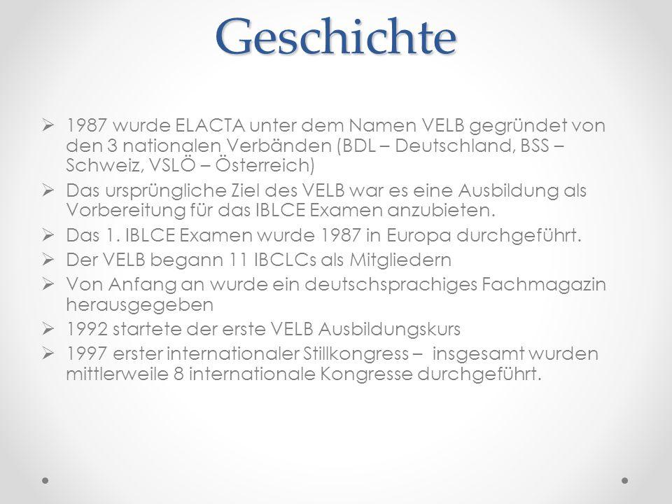 Geschichte  1987 wurde ELACTA unter dem Namen VELB gegründet von den 3 nationalen Verbänden (BDL – Deutschland, BSS – Schweiz, VSLÖ – Österreich)  Das ursprüngliche Ziel des VELB war es eine Ausbildung als Vorbereitung für das IBLCE Examen anzubieten.