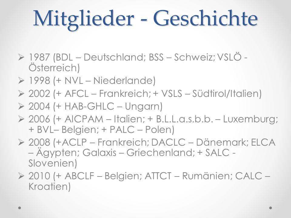 Mitglieder - Geschichte  1987 (BDL – Deutschland; BSS – Schweiz; VSLÖ - Österreich)  1998 (+ NVL – Niederlande)  2002 (+ AFCL – Frankreich; + VSLS – Südtirol/Italien)  2004 (+ HAB-GHLC – Ungarn)  2006 (+ AICPAM – Italien; + B.L.L.a.s.b.b.