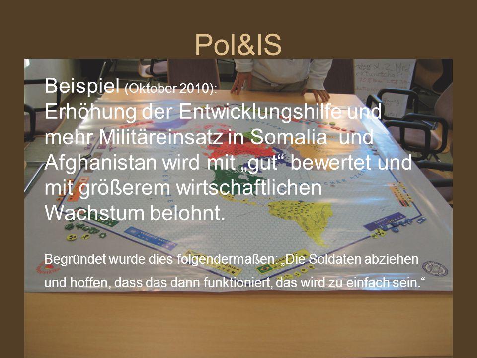 """Pol&IS Beispiel (Oktober 2010): Erhöhung der Entwicklungshilfe und mehr Militäreinsatz in Somalia und Afghanistan wird mit """"gut"""" bewertet und mit größ"""