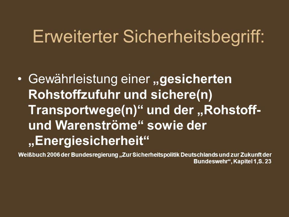 """Erweiterter Sicherheitsbegriff: Gewährleistung einer """"gesicherten Rohstoffzufuhr und sichere(n) Transportwege(n)"""" und der """"Rohstoff- und Warenströme"""""""