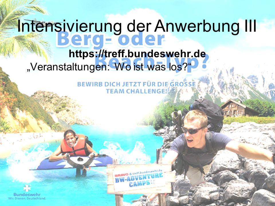 """https://treff.bundeswehr.de """"Veranstaltungen: Wo ist was los?"""" Intensivierung der Anwerbung III"""