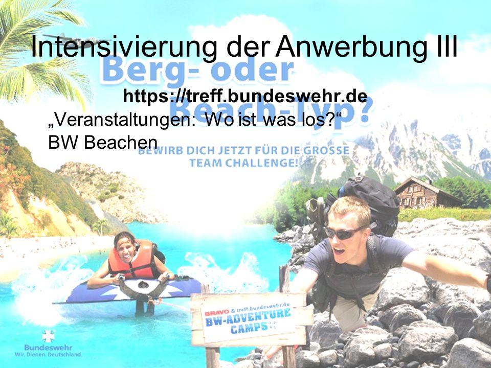 """https://treff.bundeswehr.de """"Veranstaltungen: Wo ist was los?"""" BW Beachen Intensivierung der Anwerbung III"""