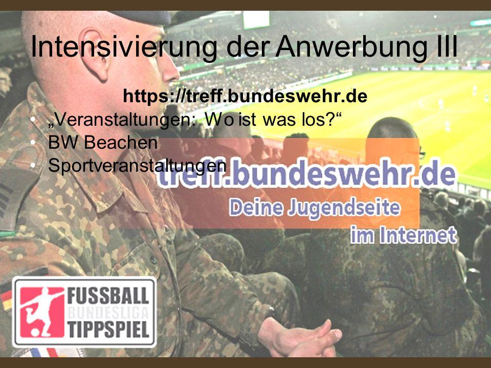 """https://treff.bundeswehr.de """"Veranstaltungen: Wo ist was los?"""" BW Beachen Sportveranstaltungen Intensivierung der Anwerbung III"""