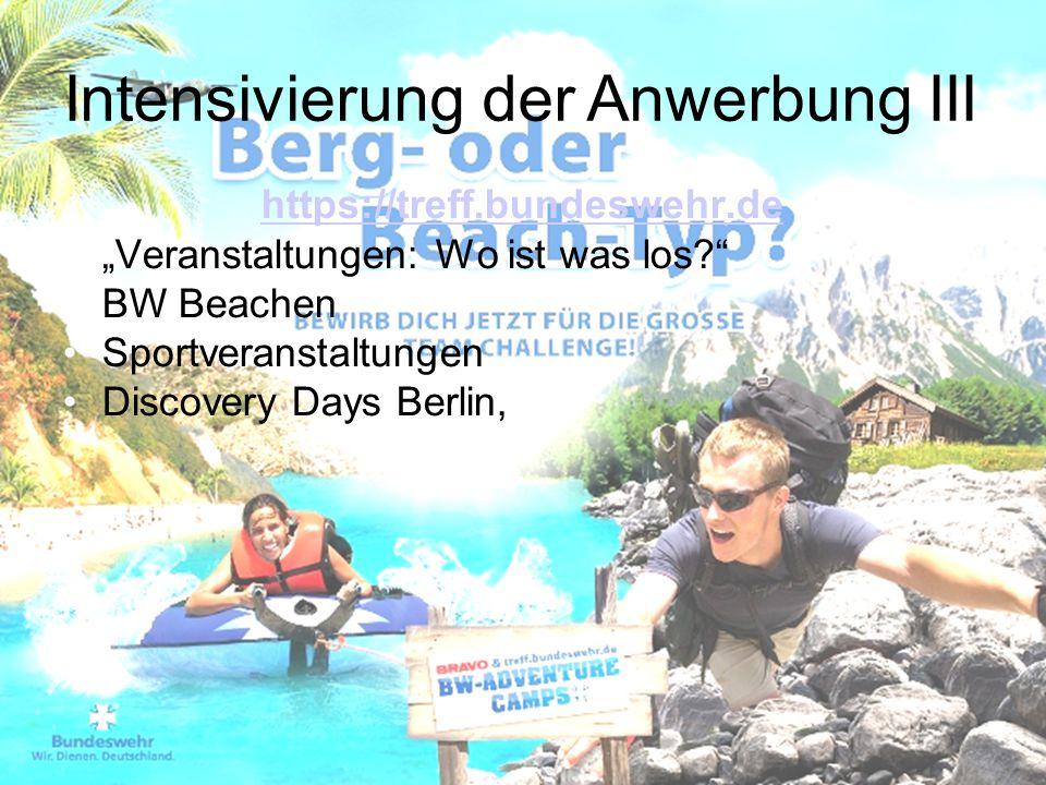 """https://treff.bundeswehr.de """"Veranstaltungen: Wo ist was los?"""" BW Beachen Sportveranstaltungen Discovery Days Berlin, Intensivierung der Anwerbung III"""