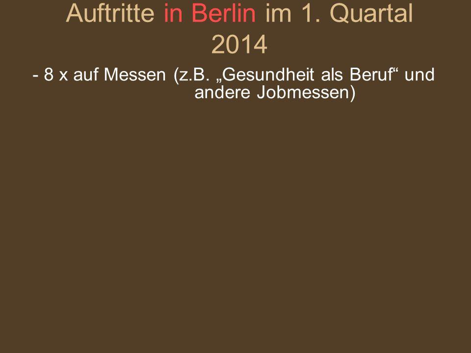"""- 8 x auf Messen (z.B. """"Gesundheit als Beruf"""" und andere Jobmessen) Auftritte in Berlin im 1. Quartal 2014"""