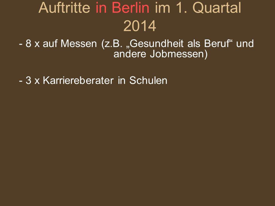 """- 8 x auf Messen (z.B. """"Gesundheit als Beruf"""" und andere Jobmessen) - 3 x Karriereberater in Schulen Auftritte in Berlin im 1. Quartal 2014"""
