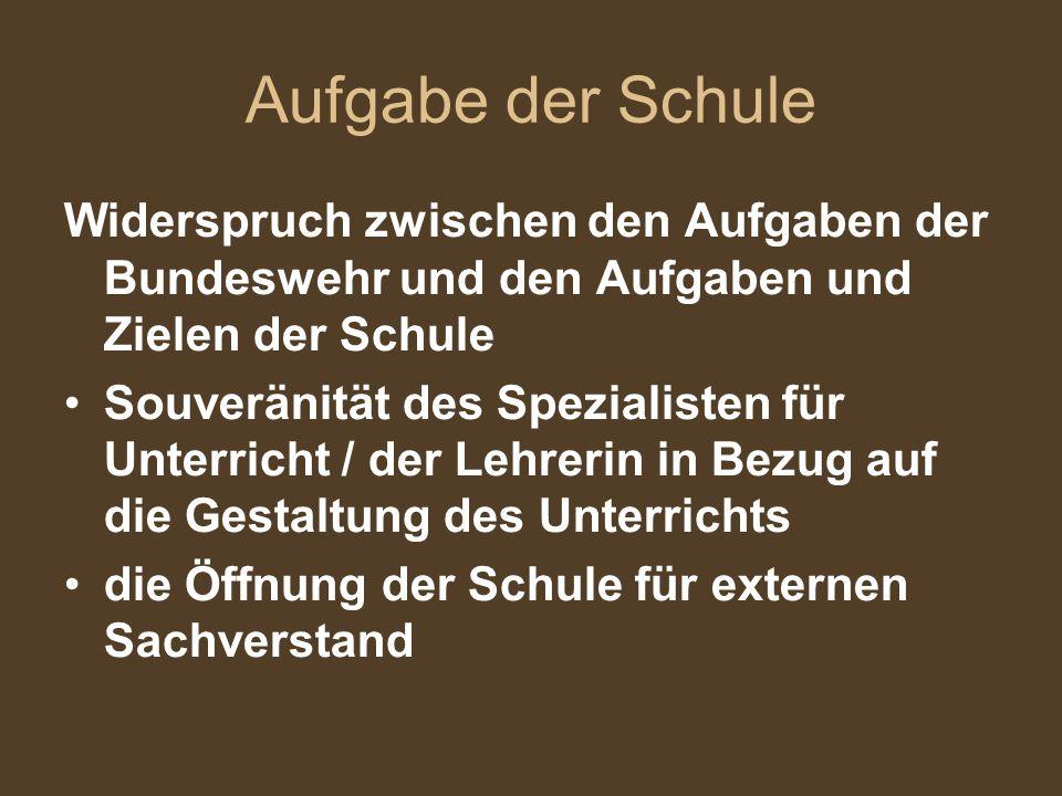 Aufgabe der Schule Widerspruch zwischen den Aufgaben der Bundeswehr und den Aufgaben und Zielen der Schule Souveränität des Spezialisten für Unterrich
