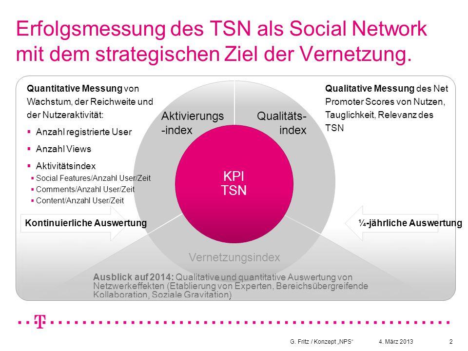 """4. März 2013G. Fritz / Konzept """"NPS""""2 Erfolgsmessung des TSN als Social Network mit dem strategischen Ziel der Vernetzung. Aktivierungs -index Qualitä"""