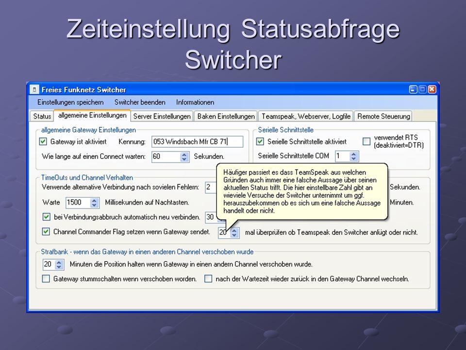 Zeiteinstellung Statusabfrage Switcher
