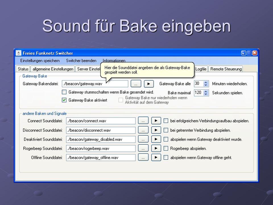 Sound für Bake eingeben