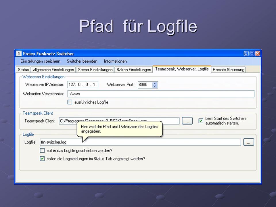 Pfad für Logfile