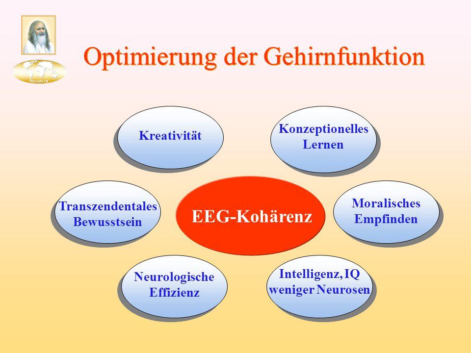Optimierung der Gehirnfunktion Kreativität EEG-Kohärenz Neurologische Effizienz Transzendentales Bewusstsein Intelligenz, IQ weniger Neurosen Konzepti