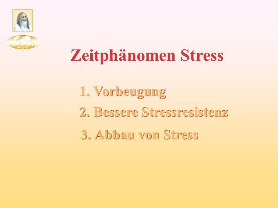 Zeitphänomen Stress 1. Vorbeugung 2. Bessere Stressresistenz 3. Abbau von Stress
