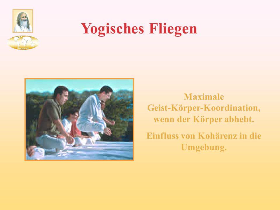 Yogisches Fliegen Maximale Geist-Körper-Koordination, wenn der Körper abhebt. Einfluss von Kohärenz in die Umgebung.