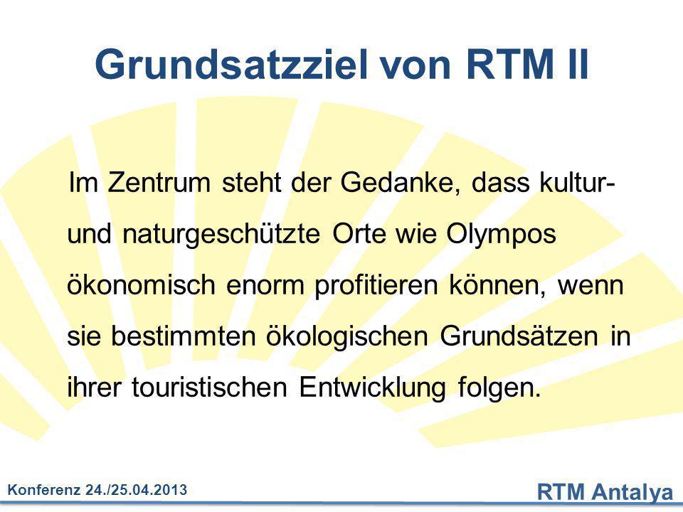 RTM Antalya Konferenz 24./25.04.2013 Grundsatzziel von RTM II Im Zentrum steht der Gedanke, dass kultur- und naturgeschützte Orte wie Olympos ökonomis