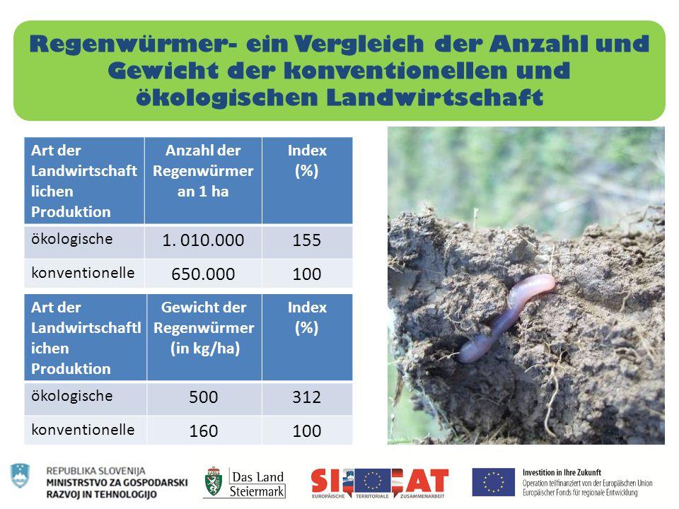 Regenwürmer- ein Vergleich der Anzahl und Gewicht der konventionellen und ökologischen Landwirtschaft Art der Landwirtschaft lichen Produktion Anzahl
