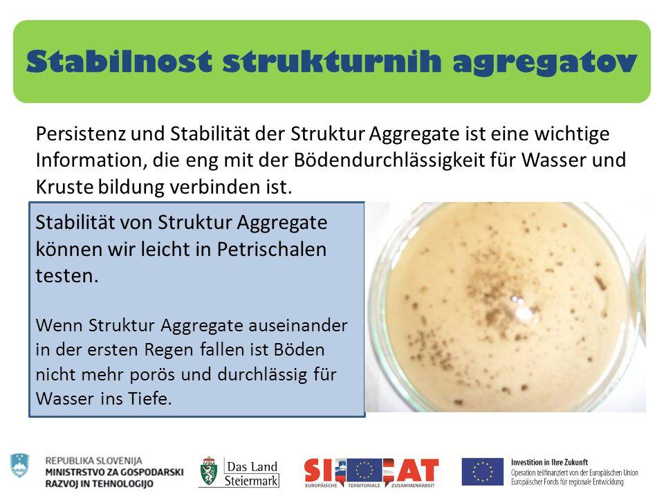 Stabilnost strukturnih agregatov Persistenz und Stabilität der Struktur Aggregate ist eine wichtige Information, die eng mit der Bödendurchlässigkeit