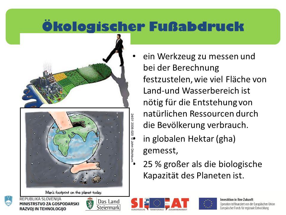 Ökologischer Fußabdruck ein Werkzeug zu messen und bei der Berechnung festzustelen, wie viel Fläche von Land-und Wasserbereich ist nötig für die Entst