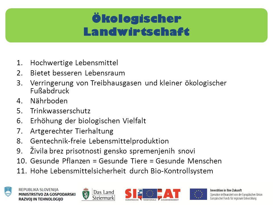 Ökologischer Landwirtschaft 1.Hochwertige Lebensmittel 2.Bietet besseren Lebensraum 3.Verringerung von Treibhausgasen und kleiner ökologischer Fußabdr