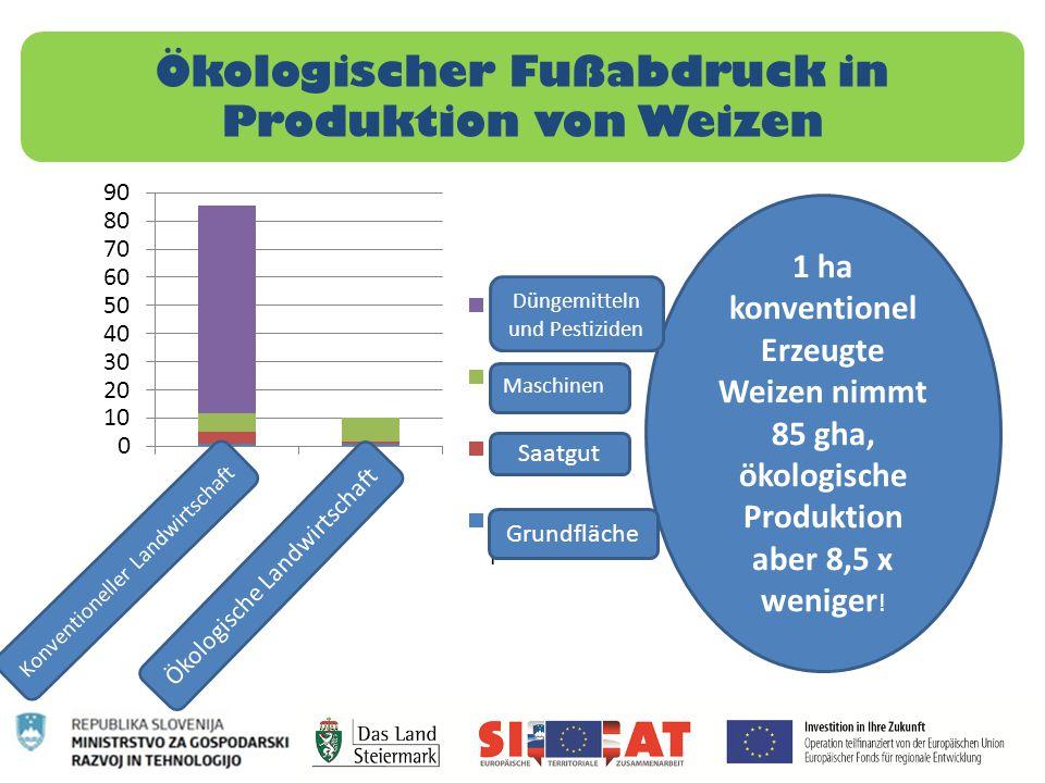 Ökologischer Fußabdruck in Produktion von Weizen 1 ha konventionel Erzeugte Weizen nimmt 85 gha, ökologische Produktion aber 8,5 x weniger ! Düngemitt