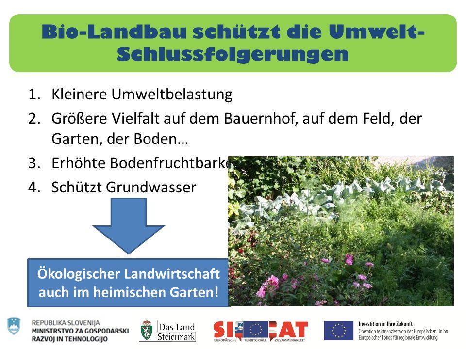 Bio-Landbau schützt die Umwelt- Schlussfolgerungen 1.Kleinere Umweltbelastung 2.Größere Vielfalt auf dem Bauernhof, auf dem Feld, der Garten, der Bode