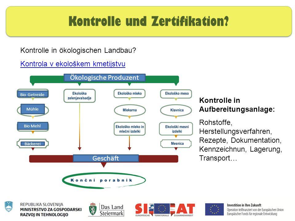 Nachhaltige Ernährung Kontrolle und Zertifikation? Kontrolle in ökologischen Landbau? Kontrola v ekološkem kmetijstvu Kontrolle in Aufbereitungsanlage