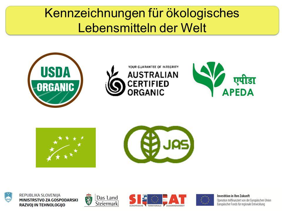 Nachhaltige Ernährung Kennzeichnungen für ökologisches Lebensmitteln der Welt