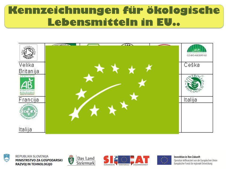 Nachhaltige Ernährung Kennzeichnungen für ökologische Lebensmitteln in EU..