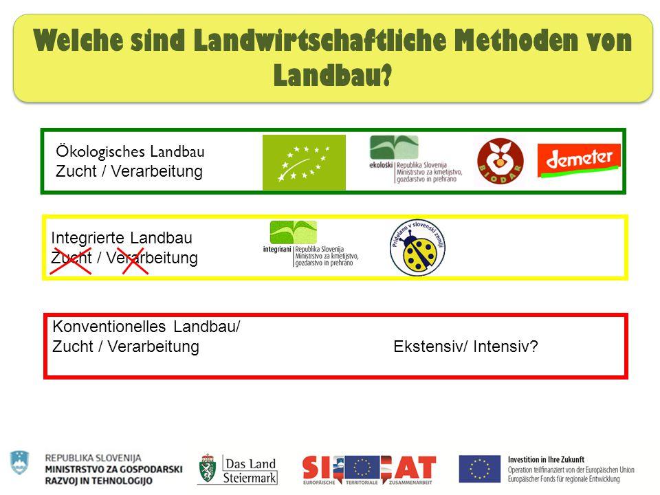 Nachhaltige Ernährung Welche sind Landwirtschaftliche Methoden von Landbau? Integrierte Landbau Zucht / Verarbeitung Konventionelles Landbau/ Zucht /