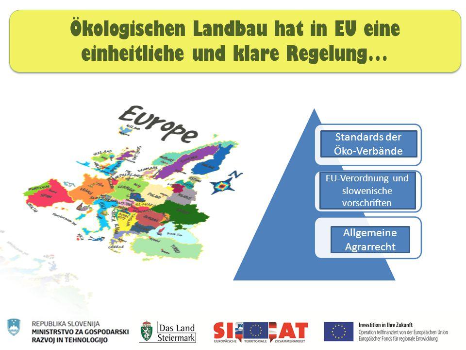 Ökologischen Landbau hat in EU eine einheitliche und klare Regelung… Standards der Öko-Verbände EU-Verordnung und slowenische vorschriften Allgemeine Agrarrecht
